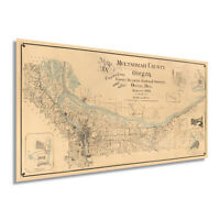 1889 Map of Multnomah County Oregon - Vintage Multnomah County Wall Art Poster
