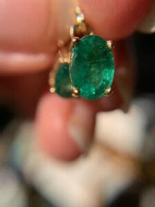 14k yellow gold natural emerald earrings dangle oval 1.52ctw w/appraisal