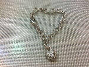 "Judith Ripka 925 Sterling Silver Chain CZ Heart Charm Bracelet 7 1/2"""
