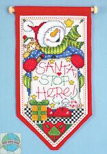 Cross Stitch Kit ~ Design Works Santa Stop Here Snowman Christmas Banner #DW5488