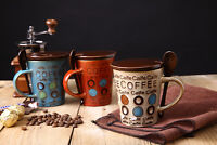 360ML Ceramic Travel Cup Pottery Water Mug Tea Coffee Milk Cup With Lid Spoon