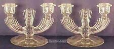 Pair Tiffin Glass Double Two Light Candlesticks Wheel Cutting Massive Heavy 2