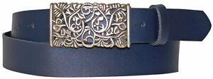 "FRONHOFER Women's genuine leather belt, beautiful floral silver buckle, 1.2""/3cm"