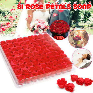 Box of 81Pcs Set Rose Bath Soap Flower Petal With Box ForWedding Valentine Gift