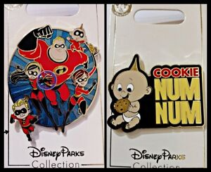 Disney Parks 2 Pin Lot INCREDIBLES Family + Baby Cookie Num Num - NEW