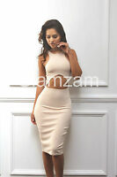 New Womens Ladies Sexy Cut Out pencil Celeb Towie Midi Bodycon Glam Party Dress