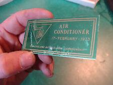 Unused Dash Plaque: AIR CONDITIONER feb 17, 1973 New England Auto Slalom champio