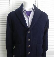 NEW Mens SIZE XXL 2XL ALPACA Navy Blue Shawl Collar Ribbed Cardigan Sweater PERU