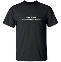 Cat hair Glitter - Funny T-Shirt Adult Black White Custom