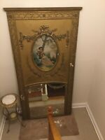 Antique Louis XV French Trumeau Ornate Gilded Mirror Wall Oil Painting