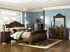 NEW Old World Cherry Brown Marble 5 pieces Bedroom Set w/ King Sleigh Bed IA09