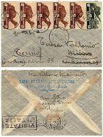 1276 - Colonie, Eritrea - Striscia 5 pezzi 10 cent su busta, 14/07/1937