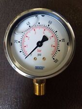 Wika 9692660 Commercial Pressure Gauge, Dry-Filled, Copper Alloy Wetted Parts, 1