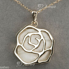 9K GF 9CT ROSE GOLD DOUBLE SIDE SHELL WHITE PENDANT NECKLACE