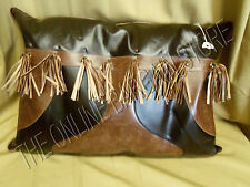 Frontgate Griffith Indoor Leather Sofa Chair Throw Pillow Oblong 21x30 Tassels
