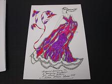 Roz Jennings Fashion Drawing Original Art Work Illustrator Laura Ashley 1970 F20