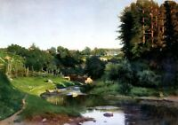 "Art Oil painting Kryzhitsky Constantine - Village on the banks of the river 36"""