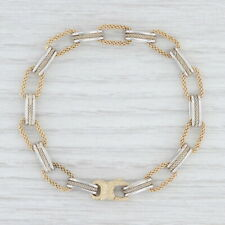"""2-Toned Elongated Cable Chain Bracelet 14k Yellow White Gold 7.5"""" 7.5mm Italy"""