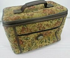 Vtg Leisure International Luggage Brown Floral Tapestry Cosmetic Toiletry Bag