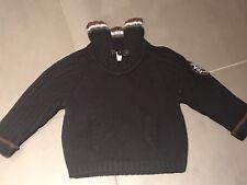 Jacadi Navy Sweater Crest Pocket Pullover Cashmere Cotton 12 months NEW