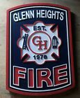 Fire Department Glenn Heights  3D routed wood patch Plaque sign Custom