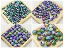 Craft DIY Peacock Mullti-Color Glitter Acrylic Round Beads Spacer 4mm-10mm