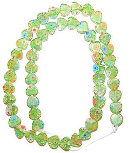 "G3472 Green w Multiple Multi-Color Flowers 8mm Heart Millefiori Glass Beads 15"""