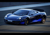 "BLUE MCLAREN MP4 12C NEW A4 CANVAS GICLEE ART PRINT POSTER 11.7"" x 8.3"""