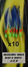10x Blue / White Tsunami Mackerel - Herring Feathers 5 Hook 2/0 - Bulk 10 Pack