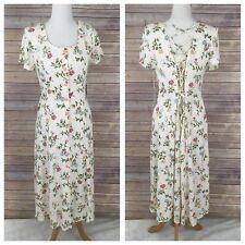 Vintage 80s 90s JONI BLAIR Floral Lace Up Maxi DRESS Boho Prairie Sz M Medium