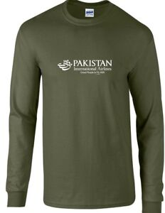 Pakistan International Airlines PIA Military Green Cotton Long Sleeve T-Shirt