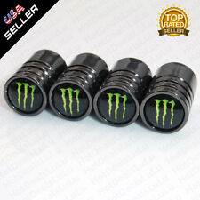 Black Chrome Auto Car Wheel Tire Air Valve Caps Stem Cover With Monster Emblem