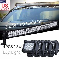 "4x 18W + 40"" 300W CURVED LED Work Light Bar FLlood Spot for Offroad Truck SUV"