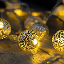Leucht Kette mit 10 silbernen LED Kugeln Lichterkette Lichtdeko Kugelleuchte