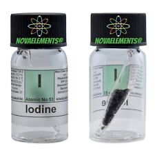 Iodine element 53 sample >2 grams 99,99% in ampoule inside labeled glass vial