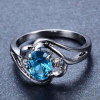 Generous Aquamarine Gemstone 925 Silver Wedding Engagement Bridal Ring Sz5-11