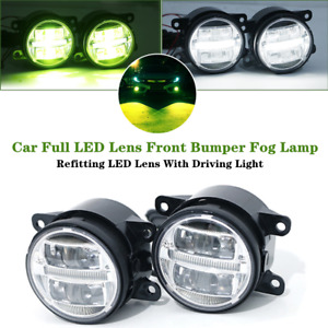 1Pair Car Full LED Lens Straight Driving Light Front Bumper Fog Spotlight Lamps