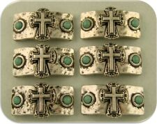 Faux Turquoise Cross Bar Beads Religious Southwest Gothic 2 Hole Sliders QTY 6