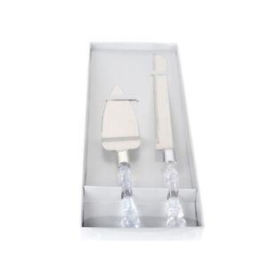 Wedding Bridal Cake Server Knife Set Steel Clear Handle Gift Box