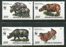 Indonesia 1996 MNH 4v,  WWF,  Sumatra Rhinoceros, Wild Animals