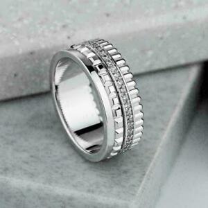 Full Eternity Engagement Wedding Men's Band Ring 2.01 Ct Diamond 14K White Gold