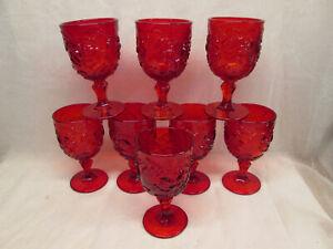 "Set 8 Fenton Glass Ruby Red Madonna Inn Wild Rose Water Goblet 6.5"" t LG Wright"