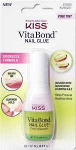 KISS VITA BOND NAIL GLUE KVBG01 ODORLESS PINK TINT BRUSH ON ADHESIVE