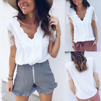 Women Lace Sleeve White Tops Summer Casual V Neck Blouse Shirt Button Up Tee USA