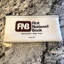 Bank Deposit Bag Vintage Zipper First National Bank FNB Bentonville Arkansas