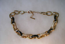 DESIGNER MYTHOLOGIE BLACK ENAMEL & RHINESTONE GOLDTONE LINK NECKLACE