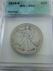 1916-S Walking Liberty Half Dollar ICG AG-3 - Mintage 508,000 Rare Date - KEY