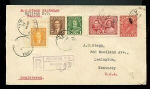 1938 KELOWNA B.C. registered to USA, cover Canada