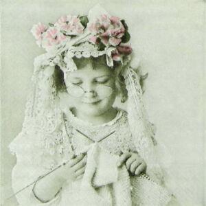 4 Single paper decoupage napkins.Girls design, Sagen, vintage, girl - 618