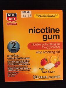 Nicotine Gum 2mg Fruit Flavor Sugar Free 100 Pieces Stop Smoking Aid Exp: 1/21